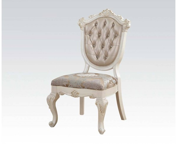 2 Chantelle Formal Rose Gold Pearl White PU Fabric Wood Side Chairs ACM-63542