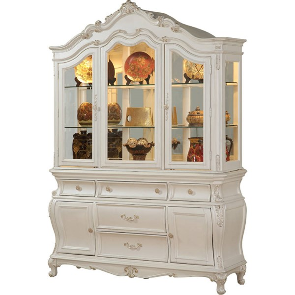 Acme Furniture Chantelle Pearl White Hutch and Buffet ACM-63544