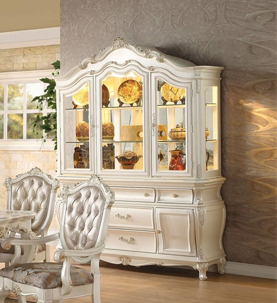 Chantelle Formal Pearl White Wood Glass 5 Drawers Hutch & Buffet ACM-63544