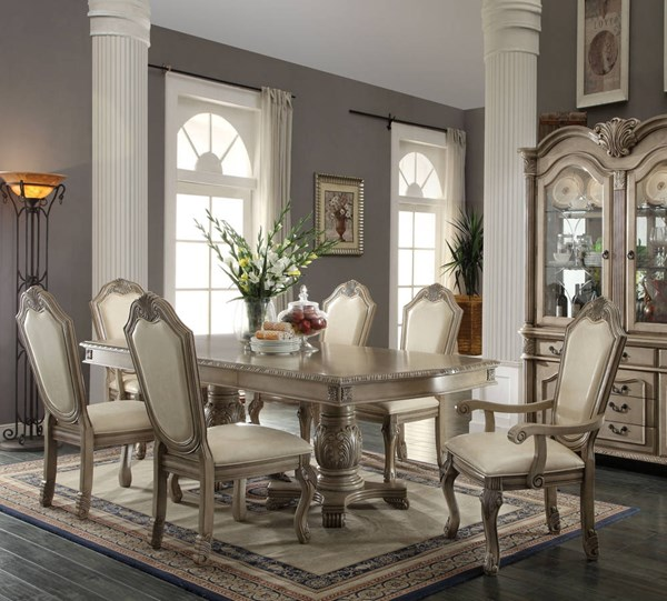 Chateau De Ville Traditional Antique White PU Wood 7pc Dining Room Set ACM-6406-DR-S1