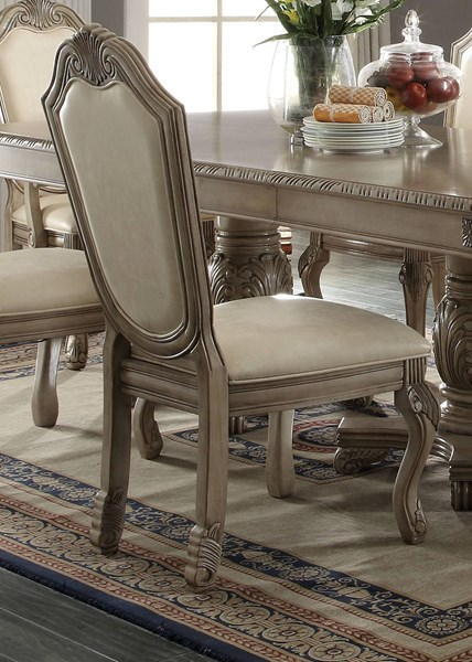 2 Chateau De Ville Traditional Antique White PU Wood Side Chairs ACM-64067