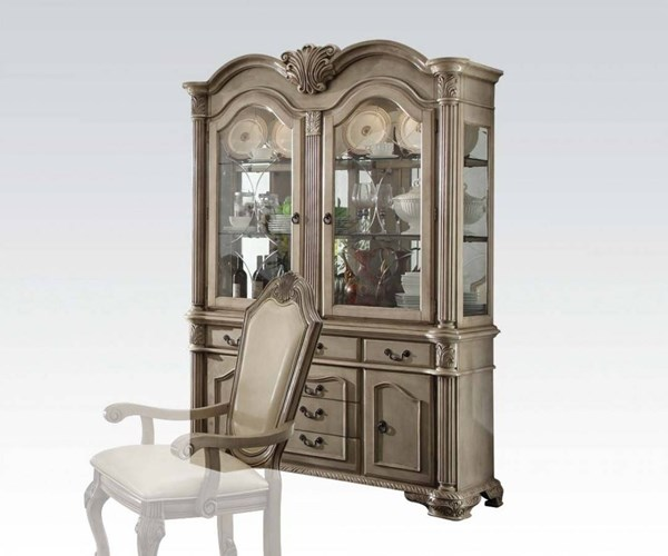 Chateau De Ville Traditional Antique White Wood Glass Hutch & Buffet ACM-64069