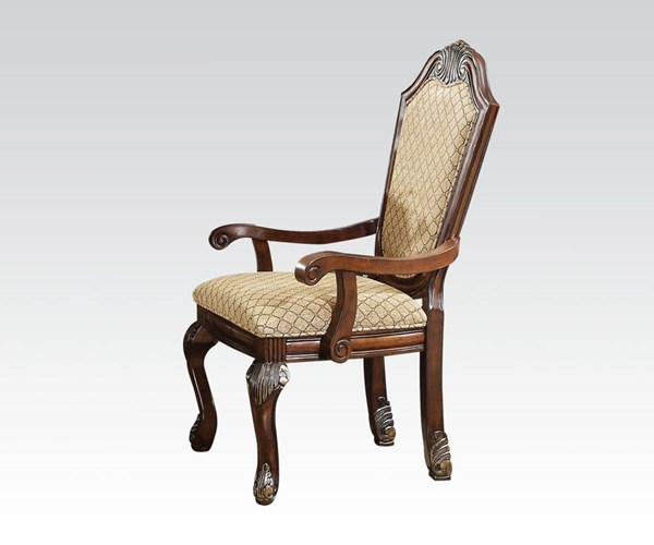 Chateau De Ville Transitional Wood Fabric Arm Chairs ACM-04078-64078-DCH-VAR