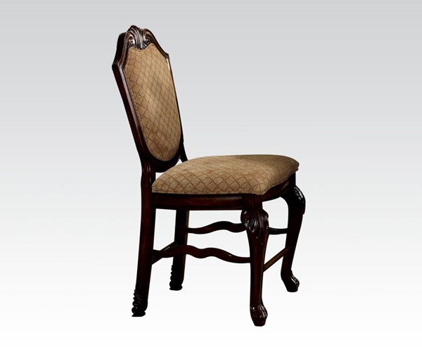 2 Chateau De Ville Espresso Wood Fabric Counter Height Chairs ACM-64084