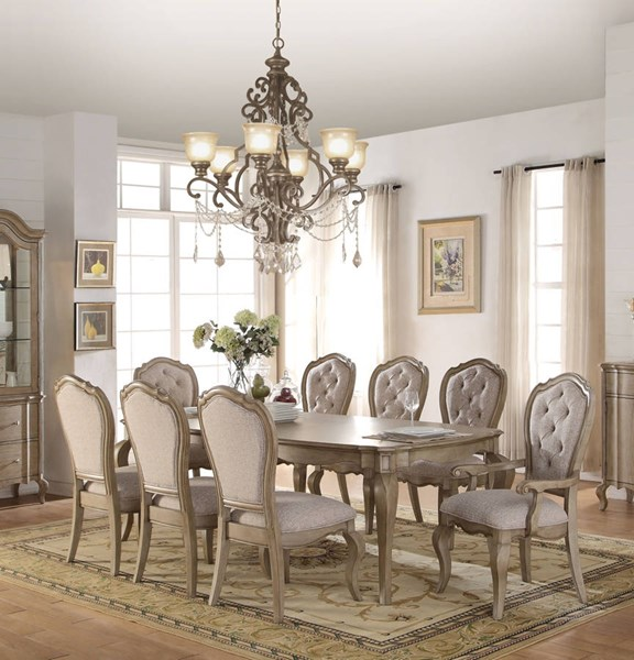 Chelmsford Beige Fabric Antique Taupe Rubberwood Dining Room Set ACM-6605-DR
