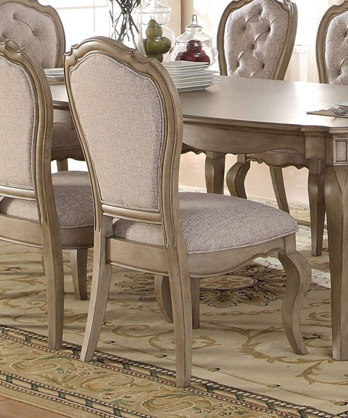 Chelmsford Beige Fabric Antique Taupe Rubberwood Side Chair ACM-66052