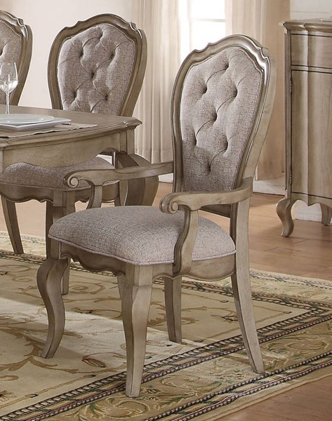 Chelmsford Beige Fabric Antique Taupe Rubberwood Arm Chair ACM-66053