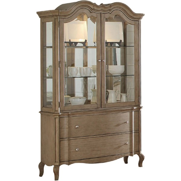 Acme Furniture Chelmsford Antique Taupe Hutch and Buffet ACM-66054
