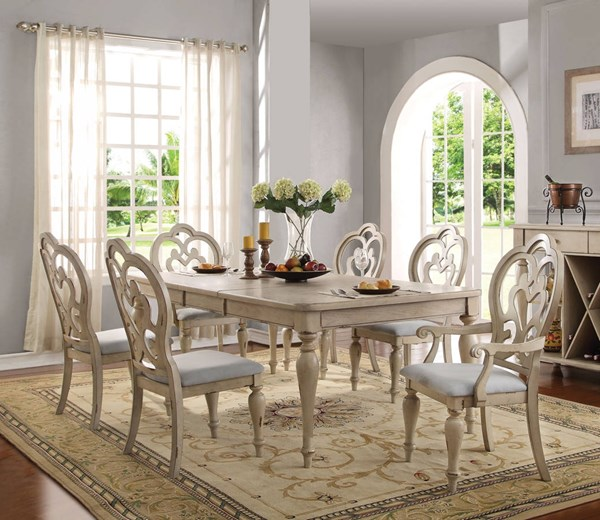 Abelin Traditional Antique White MDF Fabric Dining Room Set ACM-6606-DR