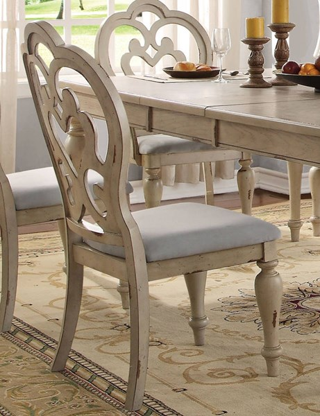 2 Abelin Traditional Antique White Fabric Side Chairs ACM-66062