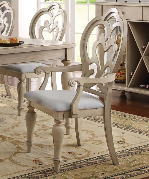 2 Abelin Traditional Antique White Fabric Arm Chairs ACM-66063