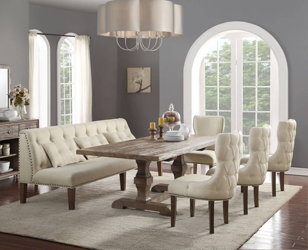 Inverness / Parker Traditional Salvage Oak Fabric Dining Room Set ACM-6608-DR