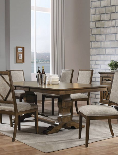 Acme Furniture Aurodoti Oak Double Pedestal Dining Table ACM-66100