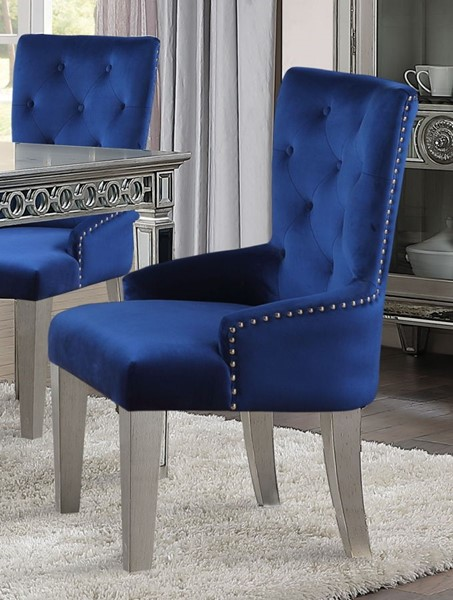 Acme Furniture Varian Blue Antique Platinum Side Chair ACM-66162