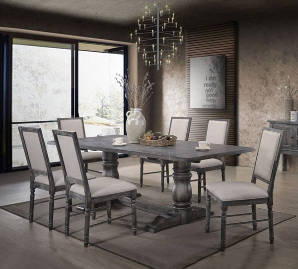 Acme Furniture Leventis Cream Weathered Gray 7pc Dining Room Set ACM-661-DR-S1