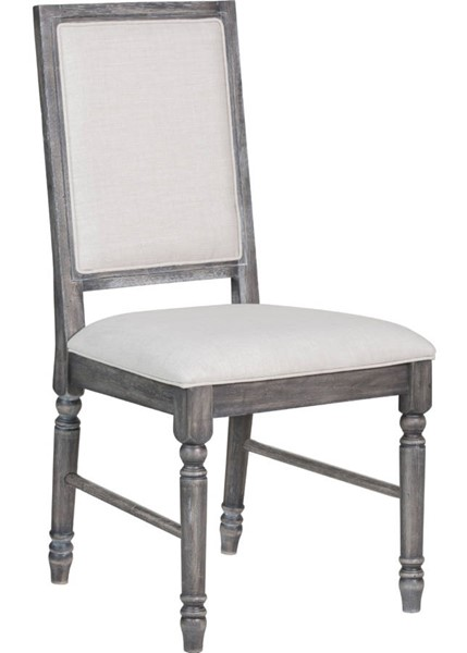 2 Acme Furniture Leventis Cream Weathered Gray Side Chairs ACM-66182