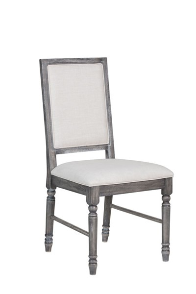 2 Acme Furniture Leventis Cream Linen Side Chairs ACM-66182