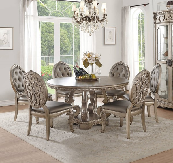 Champagne Dining Room Furniture: Acme Furniture Northville Antique Champagne 7pc Round
