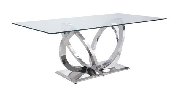 Acme Furniture Finley Clear Glass Mirrored Silver Dining Table ACM-68260
