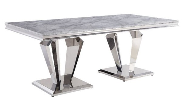 Acme Furniture Satinka Light Gray Dining Table ACM-68265