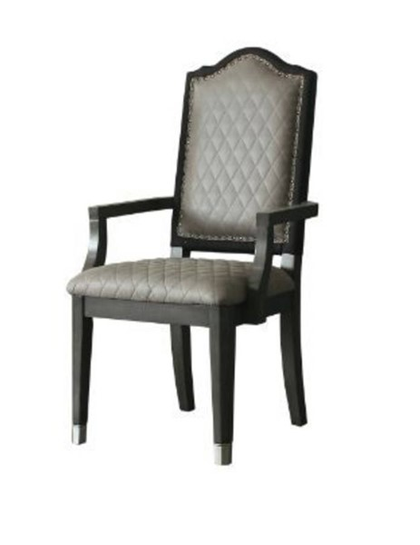 2 Acme Furniture House Beatrice Gray Charcoal Arm Chairs ACM-68813