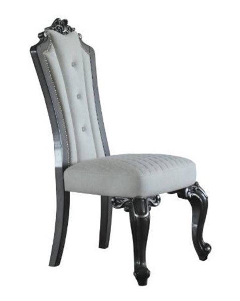 2 Acme Furniture House Delphine Ivory Beige Charcoal Side Chairs ACM-68832