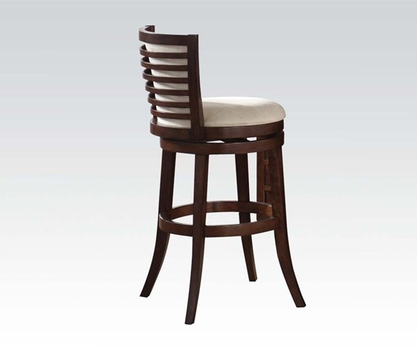 2 Pacifica Transitional Cherry White Wood PU Swivel Armless Bar Chairs ACM-70028
