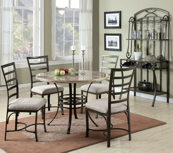 Val Casual Bronze White Faux Marble Metal 5pc Dining Set