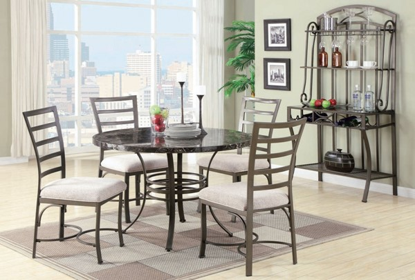 Acme Furniture Daisy Black Round 5pc Dining Set ACM-70057BK