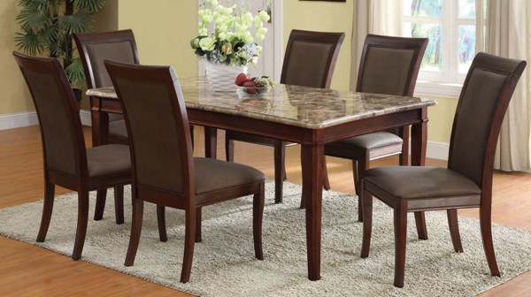 Danville Transitional Brown Wood PU 7pc Dinning Room Sets ACM-70070-S