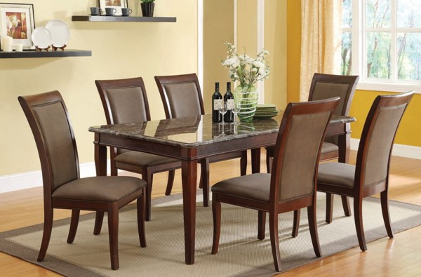 Danville Transitional Walnut Wood Black Marble Dining Table ACM-70080