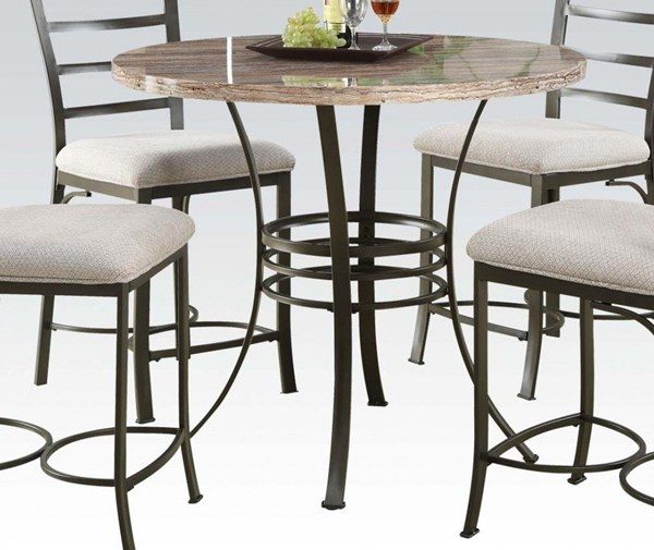 Val White Bronze Faux Marble Metal Counter Height Table ACM-70090