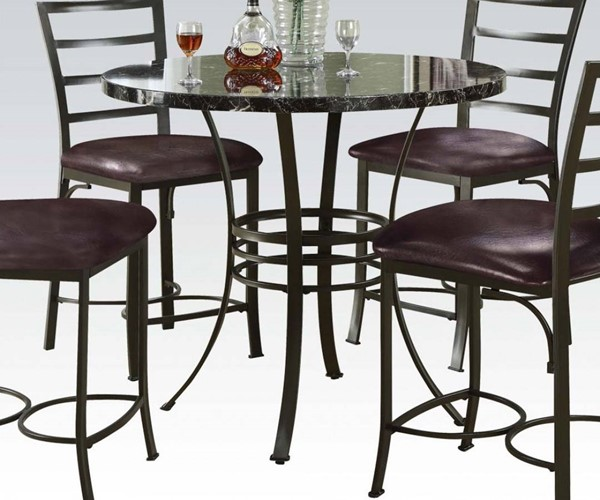 Daisy Black Bronze Faux Marble Metal Counter Height Table ACM-70090BK
