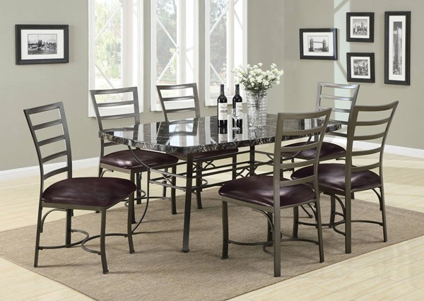 Daisy Black Faux Marble Metal Top Rectangle Dining Table Set ACM-70094-DR