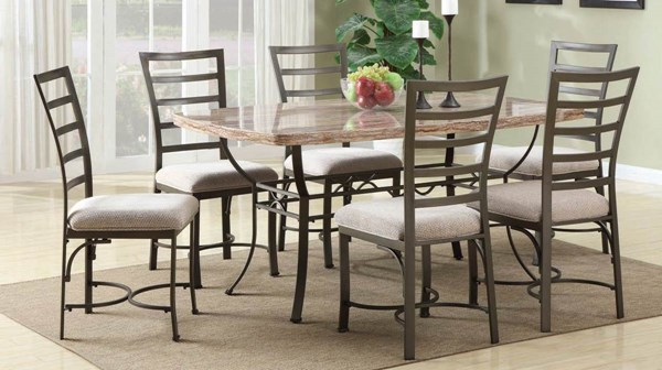 Acme Furniture Val White Bronze 7pc Dining Table Set ACM-70094-S