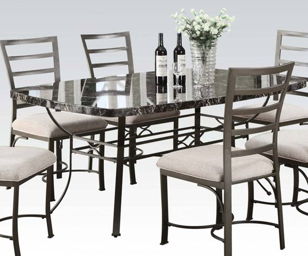 Daisy Casual Black Bronze Faux Marble Metal Rectangular Dining Table ACM-70094BK