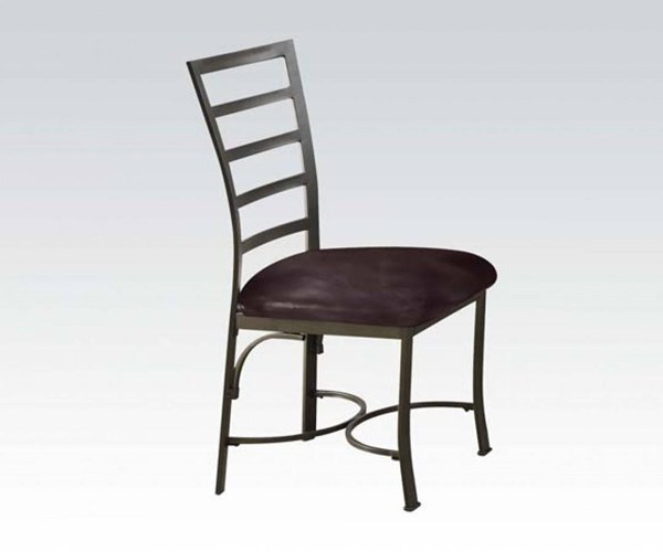 2 Daisy Casual Chocolate Bronze Metal PU Side Chairs ACM-70098