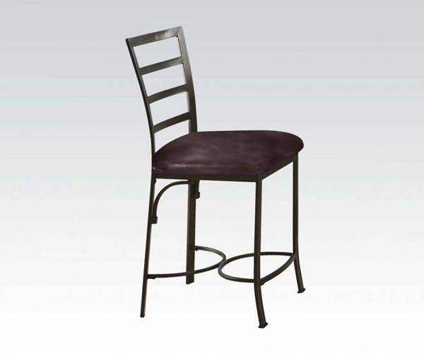 2 Daisy Chocolate Bronze Metal PU Counter Height Chairs ACM-70099