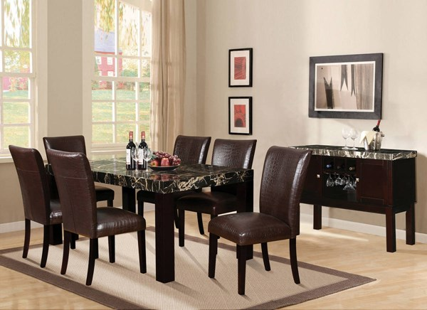 Adolph Casual Espresso Faux Marble Wood PU 7pc Dining Room Set ACM-70115-70132-DR-S