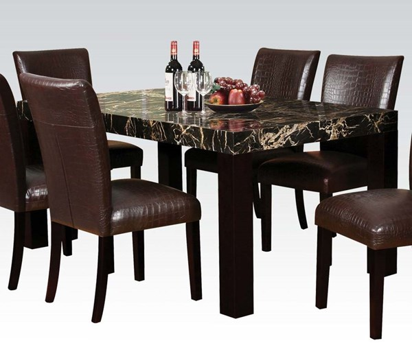 Adolph Casual Black Espresso Faux Marble Wood Dining Table ACM-70115