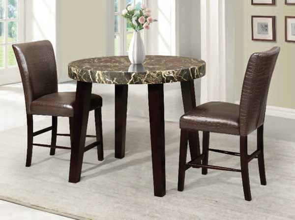 Adolph Espresso Black Wood Faux Marble 3pc Counter Height / Bar Set ACM-70120-22-BAR-S