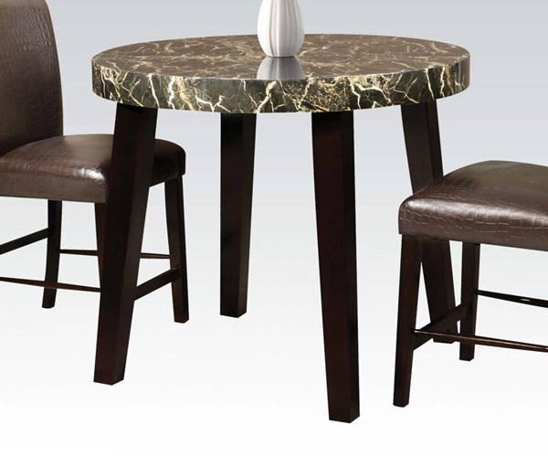 Adolph Black Espresso Faux Marble Wood Counter Height Table ACM-70120