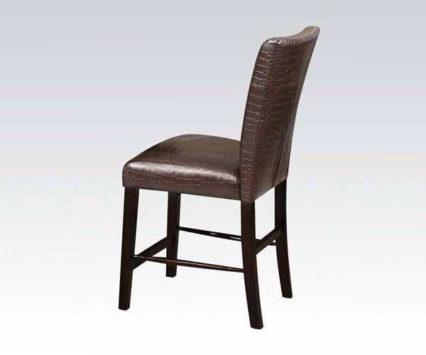 2 Adolph Dark Brown Espresso Wood PU Counter Height Chairs ACM-70122