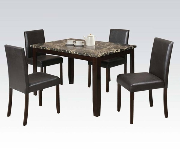 Elmira Casual Espresso Wood PU Faux Marble 5pc Pack Dining Set ACM-70126