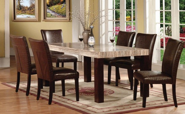 Fraser Casual Espresso Faux Marble Wood PU 7pc Dinning Room Sets ACM-70130-S