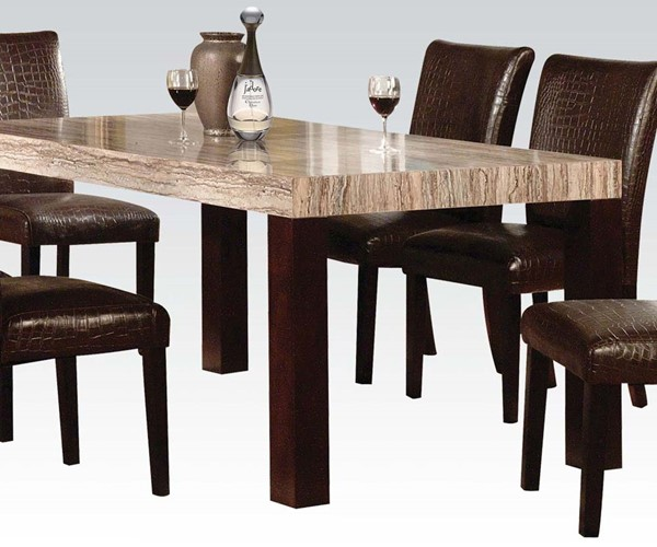 Fraser Casual Espresso Wood Faux Marble Dining Table ACM-70130