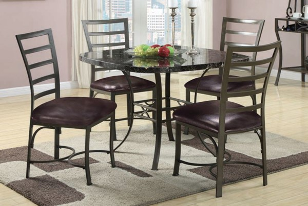 Daisy Casual Bronze Metal Faux Marble 5pc Dining Set ACM-70157