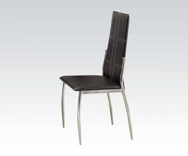 2 Riggan Chrome Black Metal PU Foam Side Chairs ACM-70202A