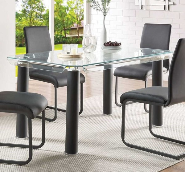 Acme Furniture Gordie Black Clear Dining Table ACM-70265