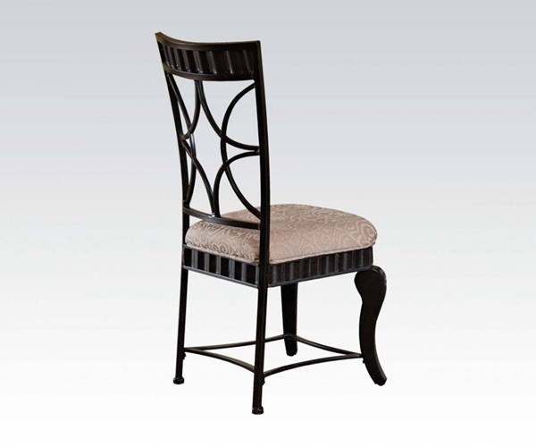 2 Lorencia Casual Black Gold Cream Metal Fabric Side Chairs ACM-70292